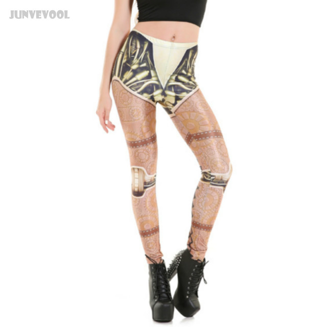 Leggings Women Sexy Skinny Pants Wheel Robot Printed Trousrs Women's Tattoo Patchwork Skinny Seamless Pencil Pants Size Plus 4XL