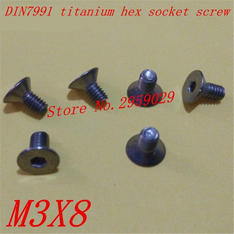 50pcs DIN7991 M3*8 m3 x 8 titanium flat head hex countersunk head machine screw 50pcs iso7380 m3 8 m3 x 8mm titanium hex socket button head screw
