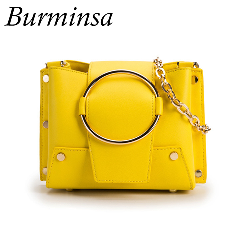 9ac564c10464e0 Burminsa Ring Small Bucket Chain Crossbody Bags Women Purse High Quality  Ladies Shoulder Messenger Bags 2019 Yellow Black White