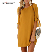 Summer 2017 Autumn New Women Casual Beam Sleeve Chiffon O Neck Dress Long Dresses Womens Vestido