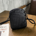 2017 woven bag leather Women Mobile Phone Bags Fashion Small Change Purse Female Woven Buckle Shoulder Bags Mini Messenger Bag