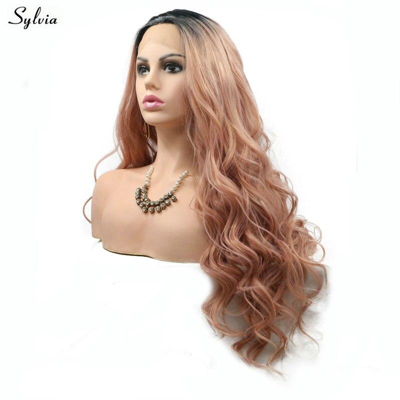 Sylvia Natural Wave Rökrosa Wig High Temperature Fiber Lång Hår - Syntetiskt hår - Foto 4