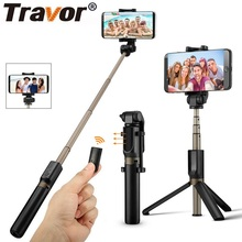 TRAVOR Tripod Monopod Selfie Stick Bluetooth Portable Handheld Selfie Stick For iPhone Samsung Huawei Xiaomi Android Smartphone 100%original huawei honor bluetooth selfie stick tripod portable bluetooth3 0 monopod for iphone android huawei smart phone