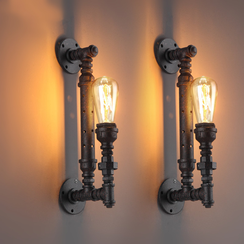 IWHD Retro Vintage Loft LED Wall Lamp Iron Water Pipe Industrial Wall Light Fixtures For Home Lighting Applique Murale Luminaire