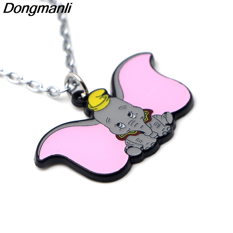 P3718 Dongmanli Fashion Cartoon Dumbo Pendants Necklaces Cute Enamel Metal Pendant Chokers Necklace For Movie Fans Kids Gifts in Pendant Necklaces from Jewelry Accessories