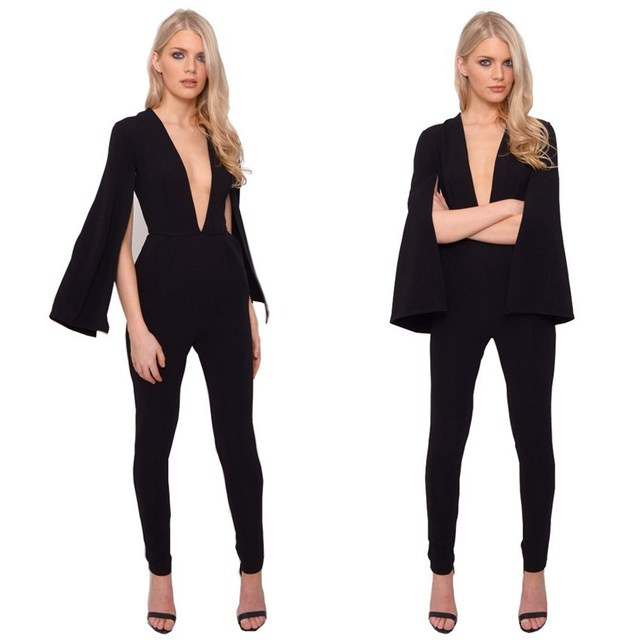 d057c86961  1520 V-neck Fitness Skinny Black Long Sleeve Jumpsuit Sexy Women Jumpers  And Rompers Sexy Club V-neck Bodycon High Stretch