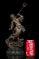 31 CM GRANDE-2018 HOME OFFICE CAMERA CLUB BAR TOP decorativo art-Retro the sea dio Poseidone bronzo art statua Scultura