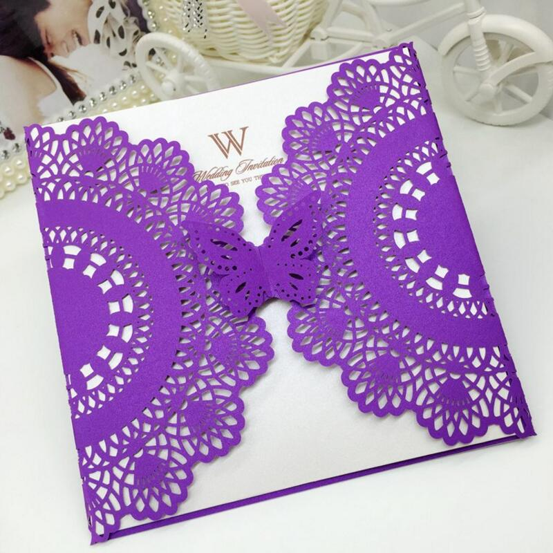 50pcs/pack Hollow Butterfly Party Invitation Card Wedding Invitation Delicate Carved Pattern Business Birthday Invitations 1 design laser cut white elegant pattern west cowboy style vintage wedding invitations card kit blank paper printing invitation