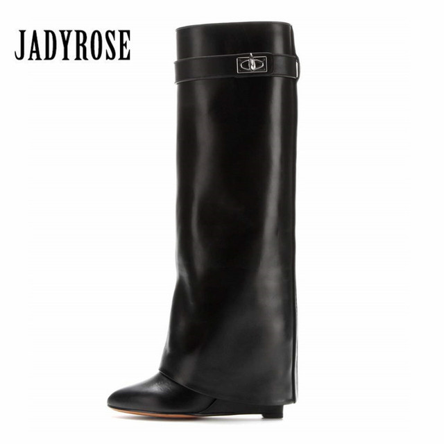 6e69e70ac1c Jady Rose Shark Lock Women Wedge Boots Black Fold Over Knee High Boot  Female Pointed Toe Riding Boots Wedges Long Botas Mujer