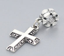 DoreenBeads Silver ColorCross Charm Slide Pendantss. Fit European Charm 40x17mm,10PCs, New(China)
