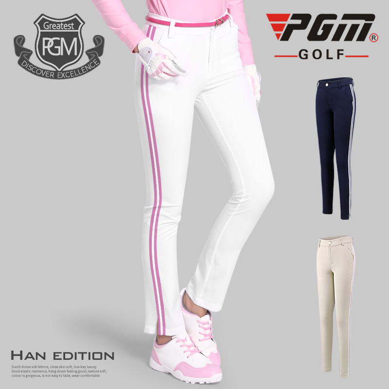 PGM Golf Pants Women Polyester Breathable Top Elasticity Stripe trousers Spring autumn Womens Sports slim Golf Pants Tee Hole