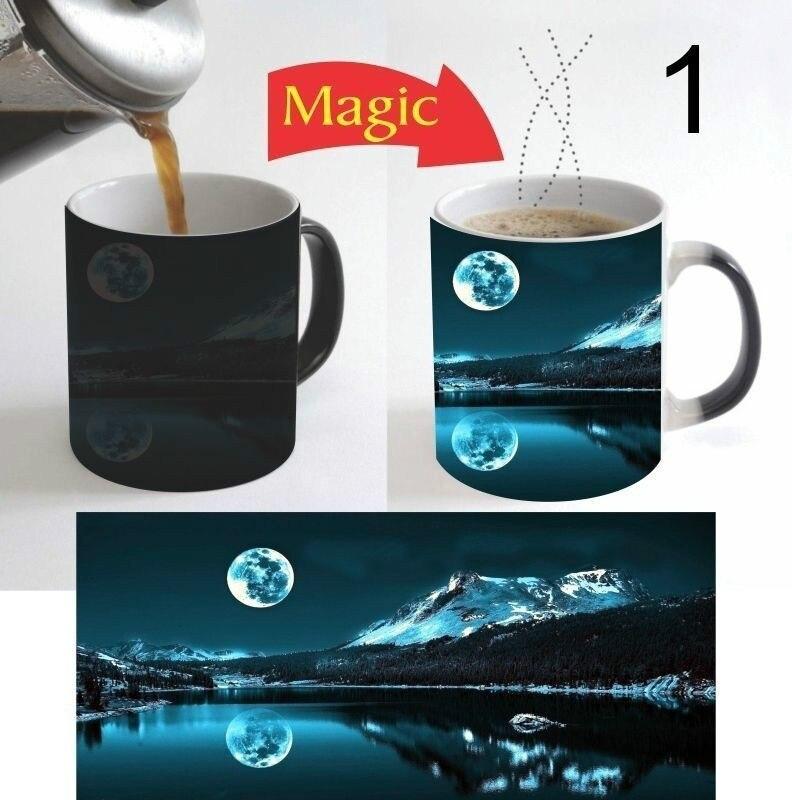 Caneca de café mágica 11 oz da mudança da cor da natureza da paisagem da lua bonita para o presente 1 Can.     -