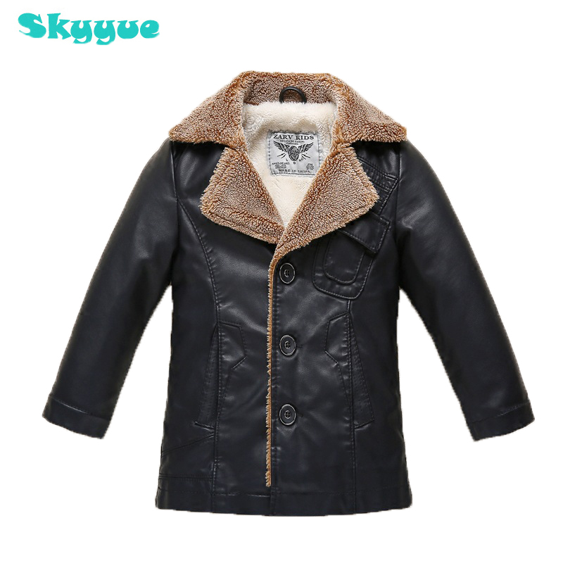 Toddler boys winter leather jacket 2018 fall winter warm coat thickened coat large children plus velvet PU leather boy pu leather velvet blood halloween choker page 2