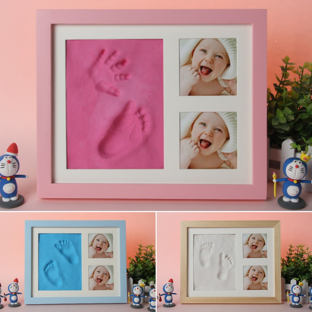 Newborn Baby Handprint Footprint Pad Hand & Footprint Makers Safe Clean Non-Toxic Touch Ink Pad Photo Frame Handprint Mud Suit