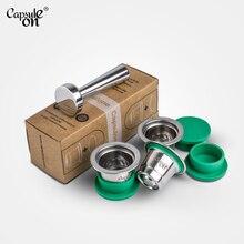 Капсульные многоразовые кофейные капсулы из нержавеющей стали, совместимые с кофемашинами Nespresso, 3 стручки+ 120 уплотнения