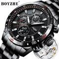 Мужские автоматические механические часы BOYZHE  спортивные часы с автозапуском  стальные часы