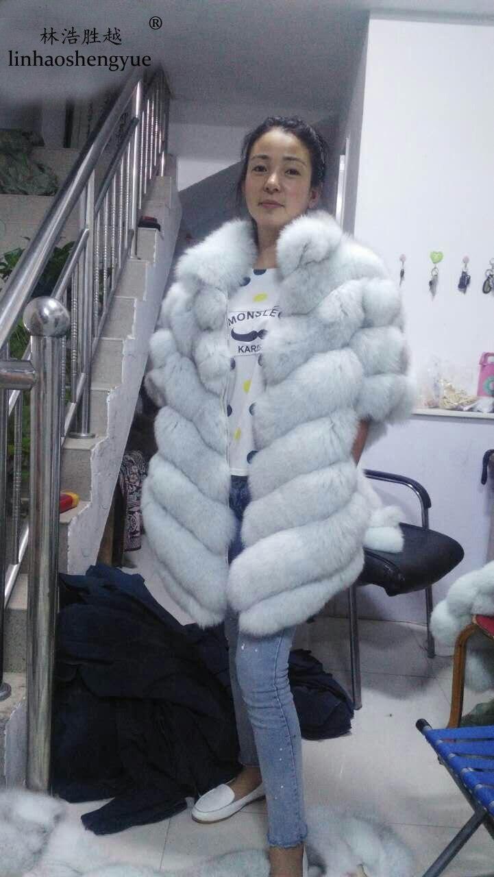 Linhaoshengyue El tipo murciélago naturales abrigo de piel de zorro