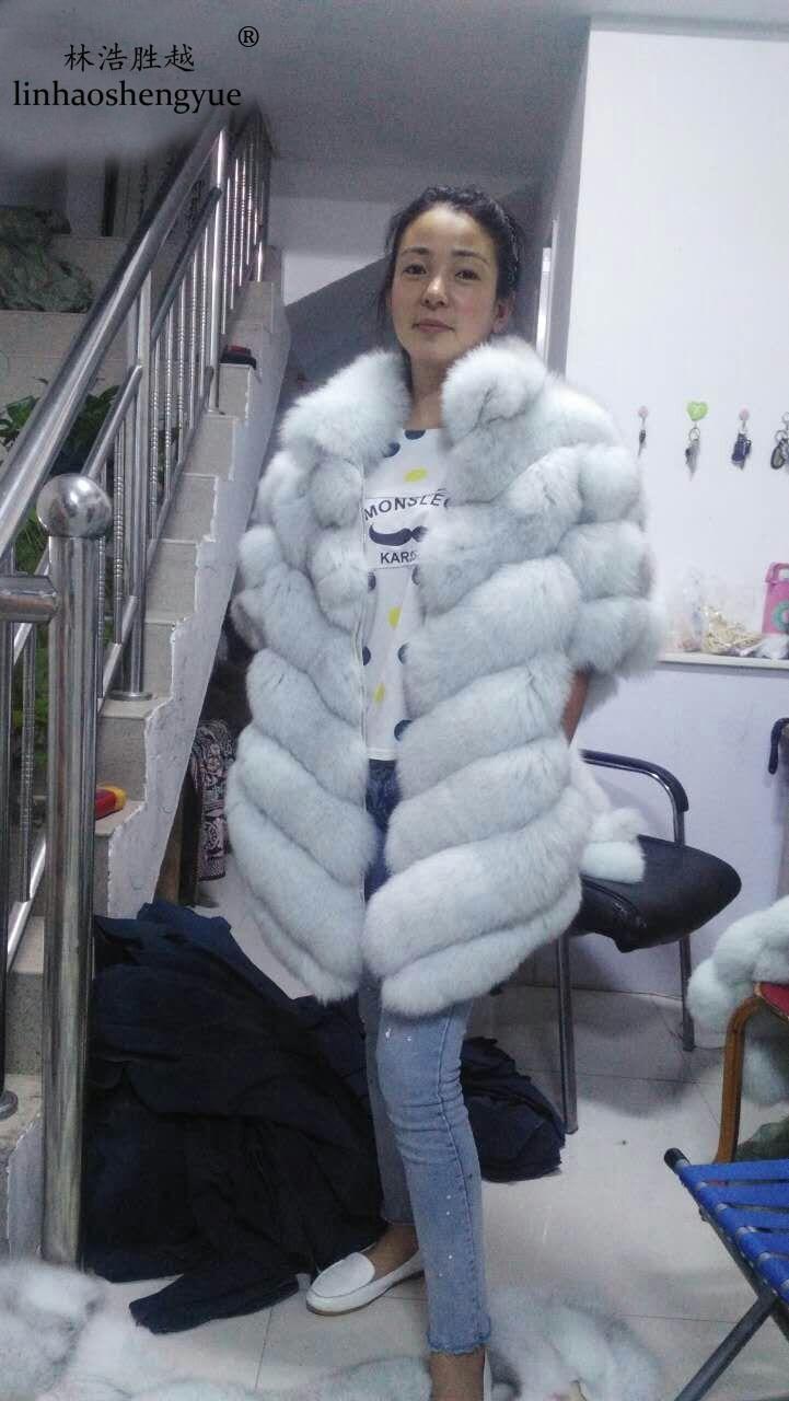 Linhaoshengyue Netopýr přírodní liška kožich, V zimě ženy - Dámské oblečení