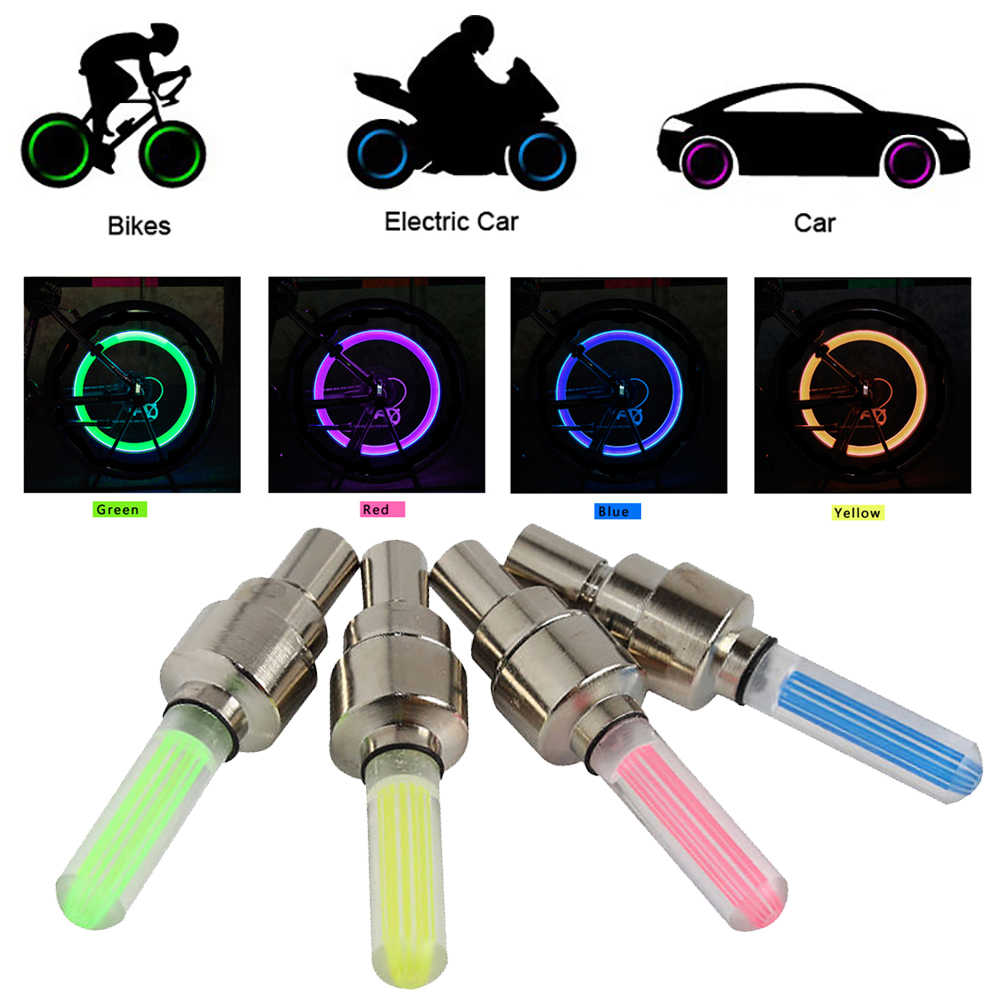 2X auto car motorcycle tire valve core tyre wheel caps lights dynamic shining LED neon lamps mountain road  bike bicycle lights