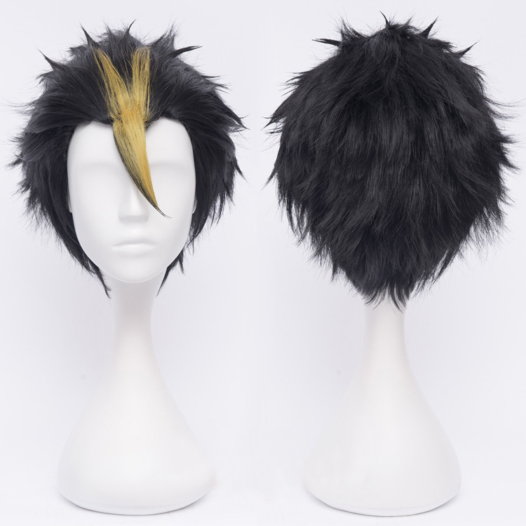 Anime Haikyuu!! Nishinoya Yuu Short Black And Blonde Heat Resistant Hair Cosplay Costume Wigs + Free Wig Cap