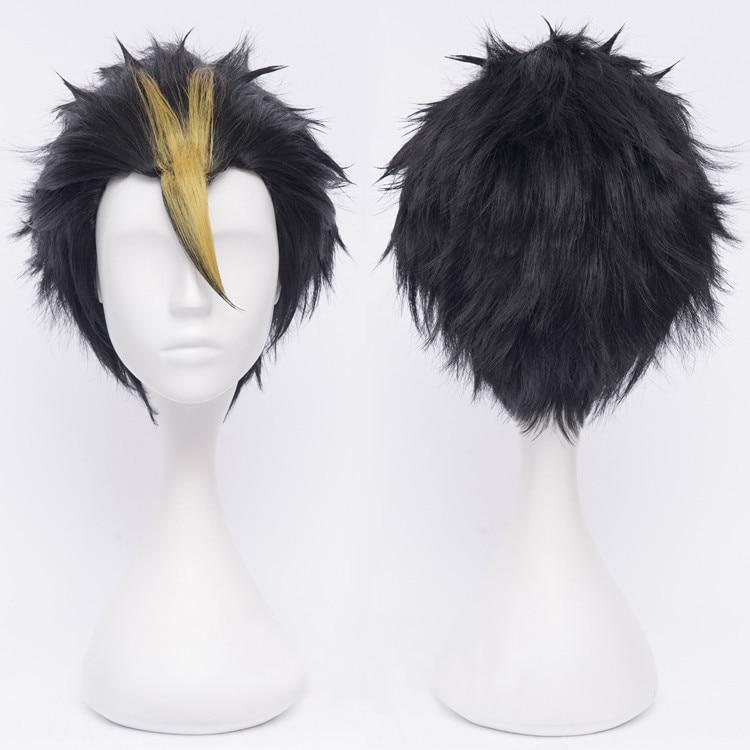 Anime Haikyuu!! Nishinoya Yuu Short Black And Blonde Heat Resistant Hair Cosplay Costume Wigs + Free Wig Cap