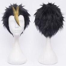 أنيمي هايكو!! شعر مستعار قصير من Nishinoya Yuu أسود وأشقر مقاوم للحرارة زي تنكري + غطاء شعر مستعار مجاني