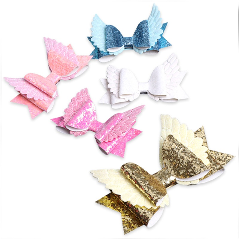 Devoted 10 Pcs/lot Angel Wings Glitter Hair Bow Clips Girls Hair Accessories Birthday Party Gift Princess Party Headdress Queenbaby Meticulous Dyeing Processes Accessories
