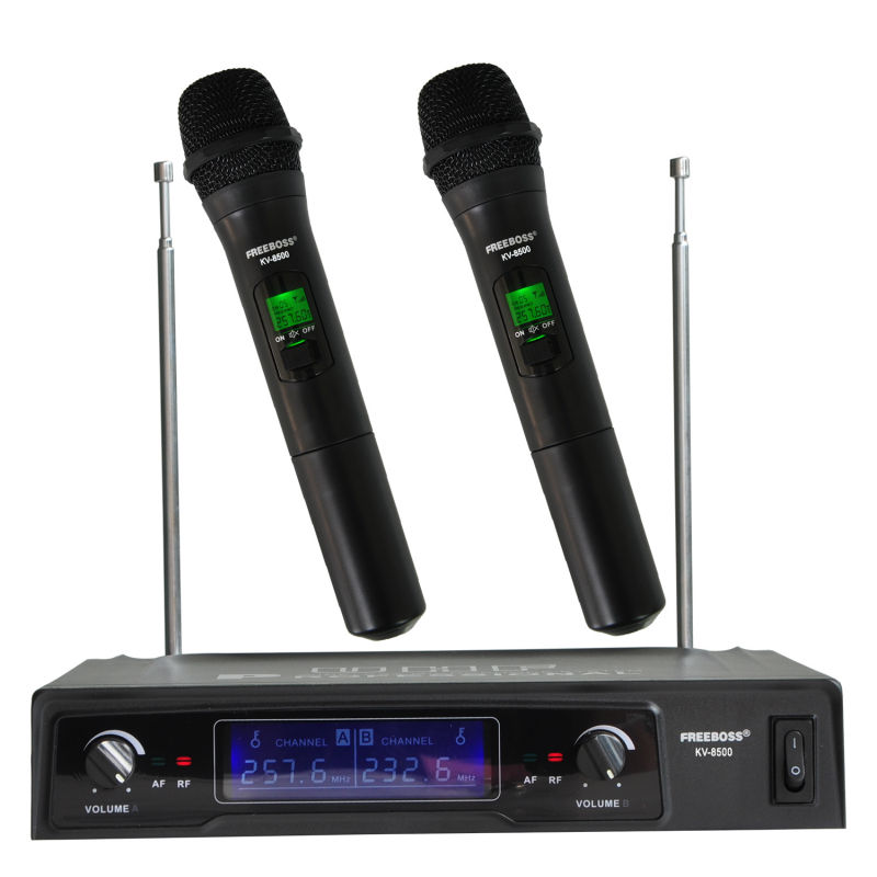 Freeboss KV-8500 VHF Handheld Wireless Microphone Dual Channel Handhold Karaoke Microphone Family Party Wireless Mic long distance signal receiving dual channel handhold professional uhf wireless microphone high sensitivity karaoke megaphone kit