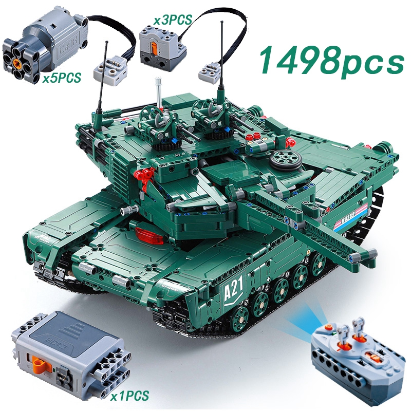 1498PCS Technic RC M1A2 Tank Motor Power Function MOC Building Blocks Bricks legoing Military War DIY