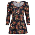 Floral Pattern Casual T Shirt Women O Neck 3/4 Sleeve Plus Size Shirt Female Clothing Retro Vintage Tee 2016 Woman Tops