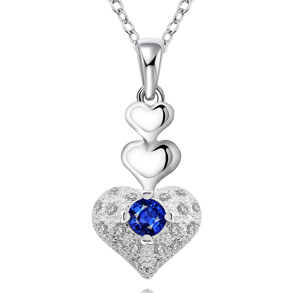 Hot silver jewelry fashion heart-shaped pendant blue zircon silver necklace female silver necklace to the wedding