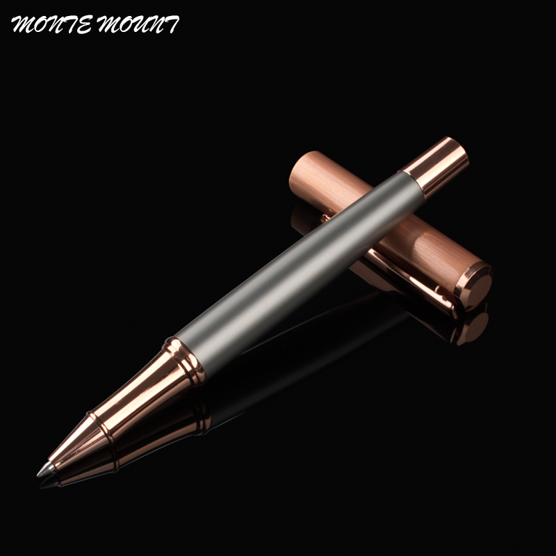 MONTE MOUNT Business good quality Gray and rose gold best writing pen luxury school Office Stationery roller ball pen refill