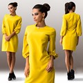 NEW female Mini dress  women Casual dress Straight Lantern Sleeve solid color o-neck Three Quarter  Sexy dress LQ8903E