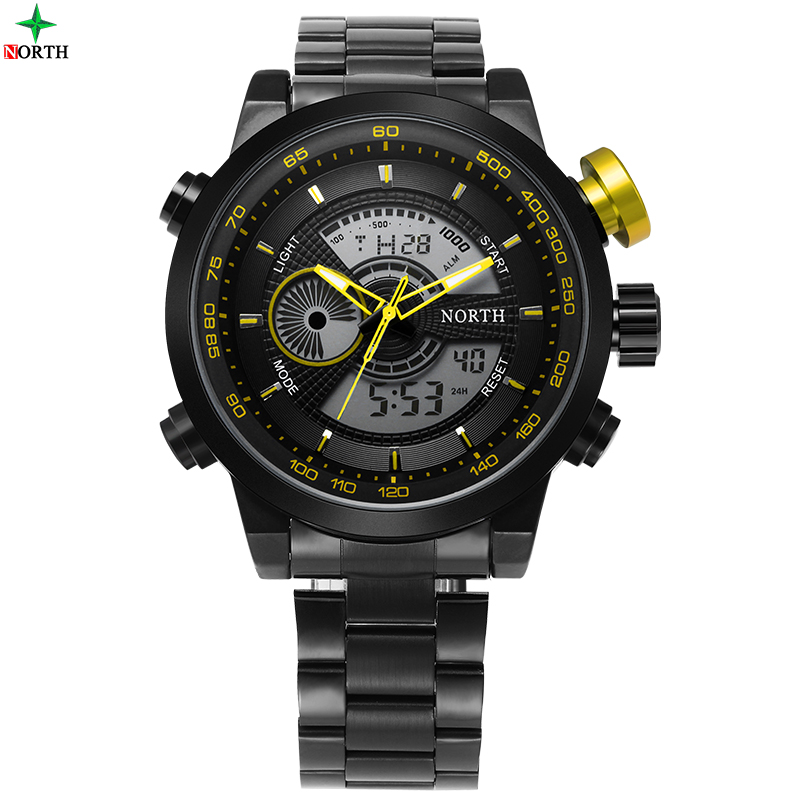 NORTH Luxury Men Watch Military Male Gift Wristwatch LED Digital Analog Clock 30M Waterproof Alarm 2016 Quartz Men Sport Watch ots top brand luxury analog digital digital drive analog waterproof alarm watch men quartz wristwatch sport military 8007