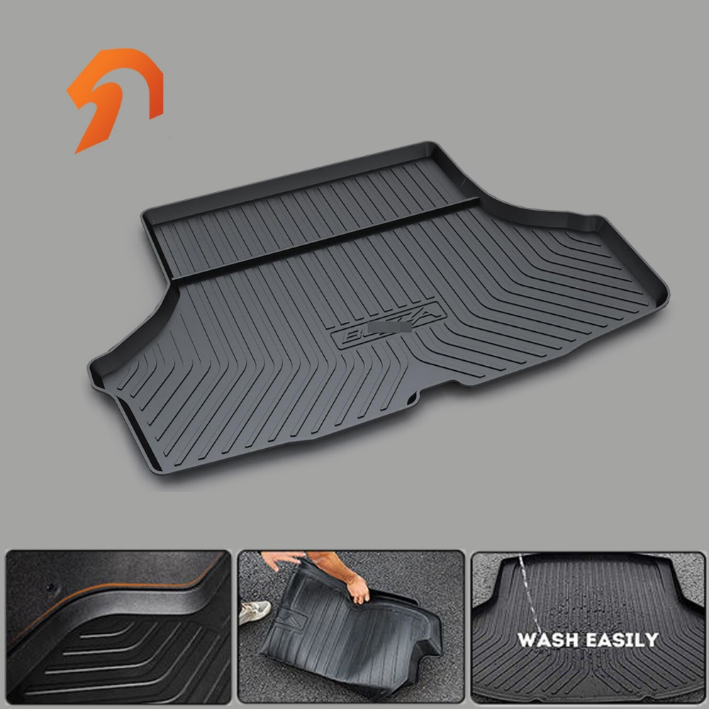 Rubber Mats FIT FOR Perodua AXIA ALZA BEZZA 2010-2017 BOOT LINER REAR TRUNK CARGO FLOOR  MATS TRAY CARPET MUD COVER PROTECTOR fit for kia rio 2011 2017 boot liner rear trunk cargo mat floor tray carpet mud cover protector 3d car styling carpet rugs