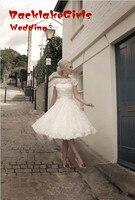 Lace Top Selling Sexy Wedding Dress Bride Dress Knee Length Short Sleeves Wedding Dresses Louisvuigon Bridal Gown Casamento