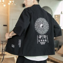 #0524 Japanese Kimono Jacket Men Printed Black Blue Grey Streetwear Cotton Linen Hip Hop Cardigan Vintage Casual 5XL