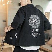 #3905 Japanese Kimono Jacket Men Printed Black Blue Grey Streetwear Cotton Linen Hip Hop Jacket Men Cardigan Vintage Casual 5XL