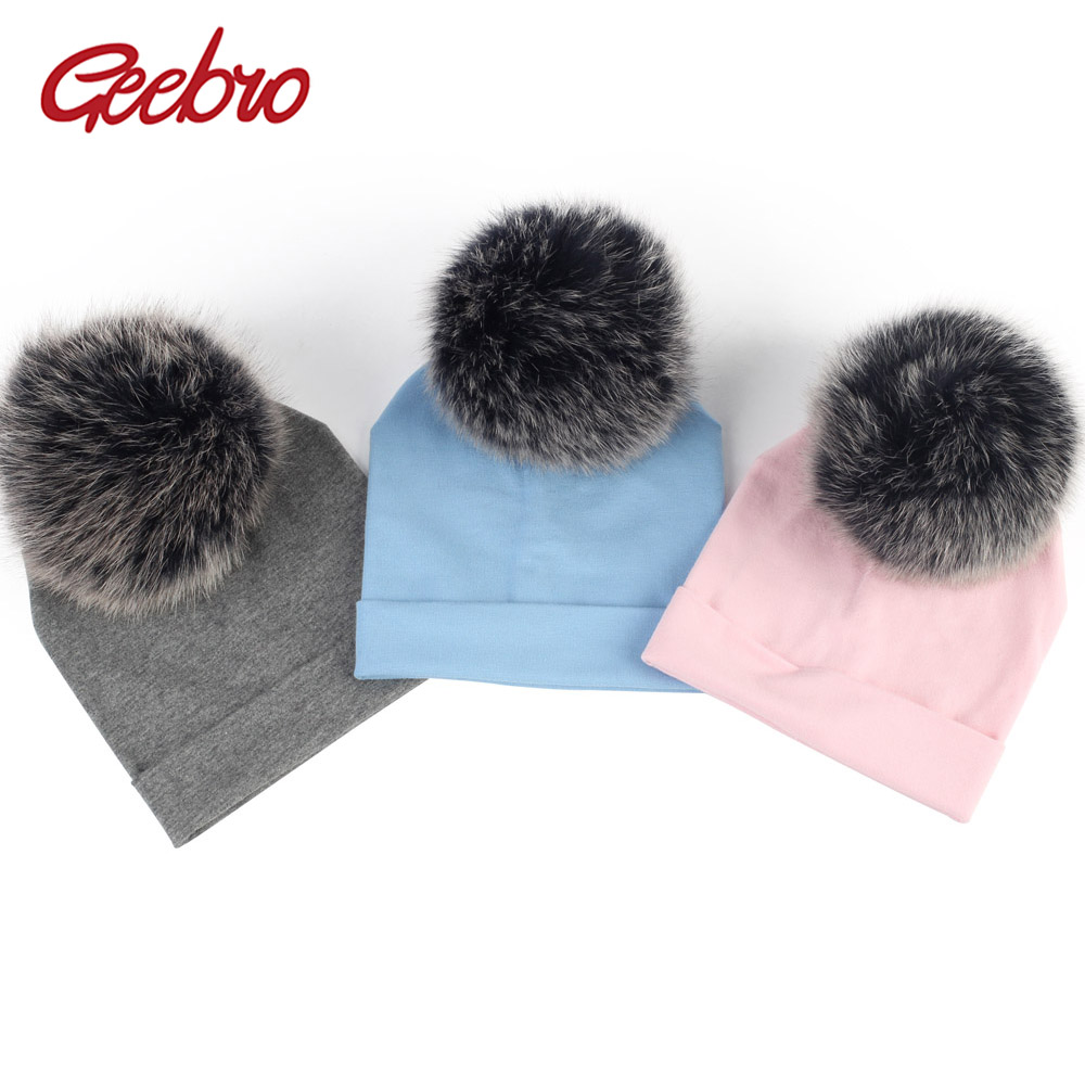 Geebro 6 month-3 Years Old Baby Girls and Boys   Beanie   Hat Autumn Cotton Fox Fur Pompom   Skullies     Beanies   Newborn Kids Plain Hats