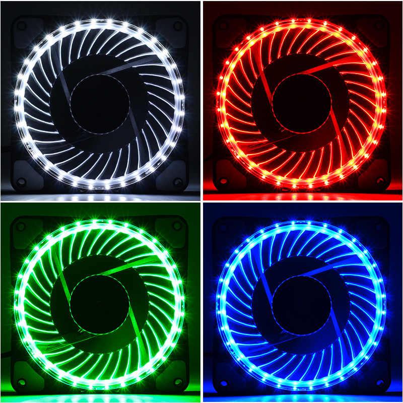CoolerAge 32 أضواء LED الصامت 120 مللي متر مروحة جهاز كمبيوتر شخصي الهيكل المشجعين حالة غرفة التبريد مسند تبريد للاب توب مدمج به مكبر صوت مروحة الأحمر الأخضر الأزرق الأبيض مروحة