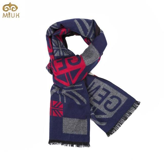Miuk 2017 nuevo otoño y el invierno de la moda de impresión de los hombres bufandas hombres y Mujeres Azul Negro Modal de Cachemira Bufandas de Lana Caliente bufanda