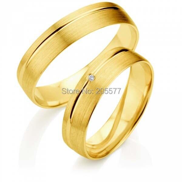 ᐃlastest Yellow Gold Plating Titanium Engagement Wedding Bands