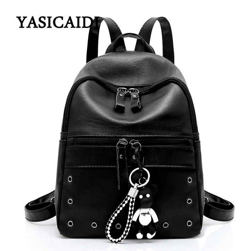 69122168090b Высокое качество PU кожаные рюкзаки для девочек-подростков школьная сумка  2018 женский Медведь Рюкзак Для