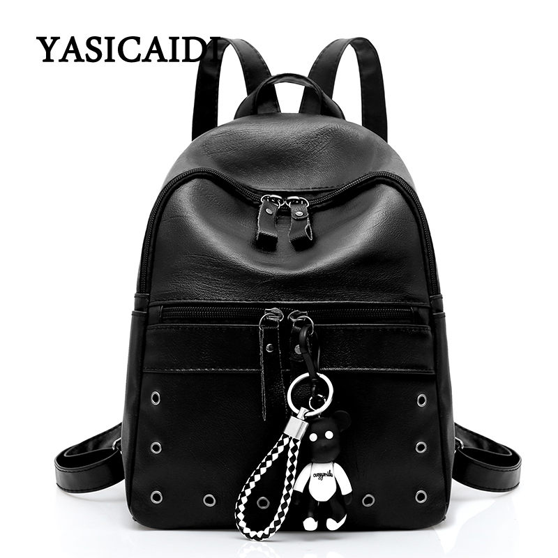 High Quality PU Leather Backpacks For Teenage Girls School Bag 2018 Female Bear Backpack Women Casual Daypacks Fashion Solid Sac brand bag backpack female genuine leather travel bag women shoulder daypacks hgih quality casual school bags for girl backpacks