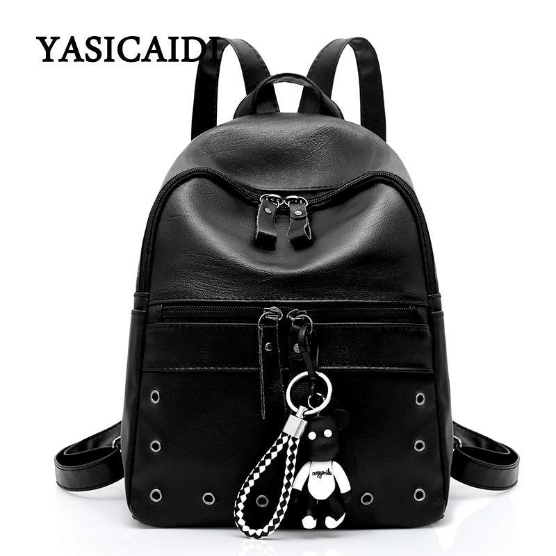 High Quality PU Leather Backpacks For Teenage Girls School Bag 2018 Female Bear Backpack Women Casual Daypacks Fashion Solid Sac