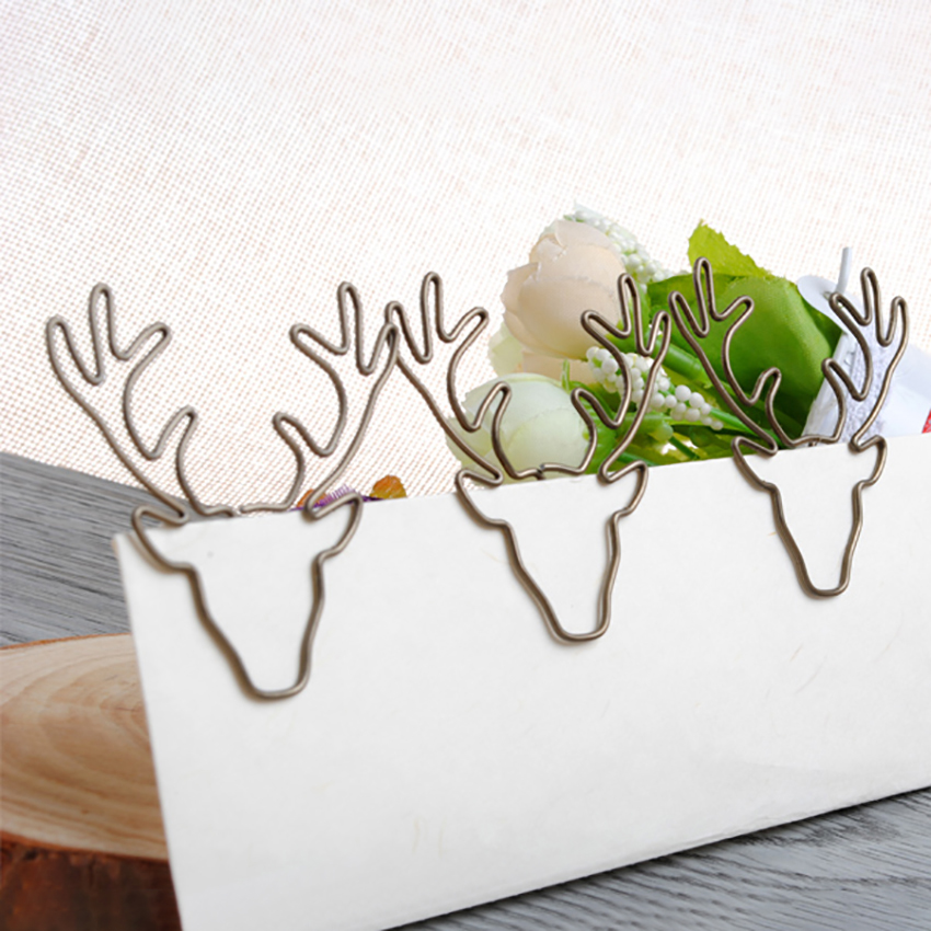 1 PCS Cartoon Deer Paper Clip Plastic Coated Metal Book Page Holder Clip Creative Bookmark Memo Clips Office School Stationery