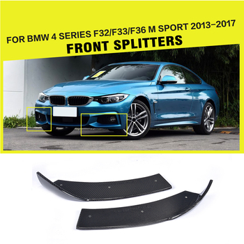 For BMW 4 Series F32 435i M Sport Front Bumper Splitters Cupwings Flaps Cover Coupe 2013 - 2017 2PCS/Set Carbon Fiber image