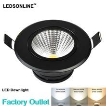 LED Downlight Ceiling lamp light COB Real 5W Pure Nature Warm white silver blak whit housing 110 220V led lighting 10pcs\lot