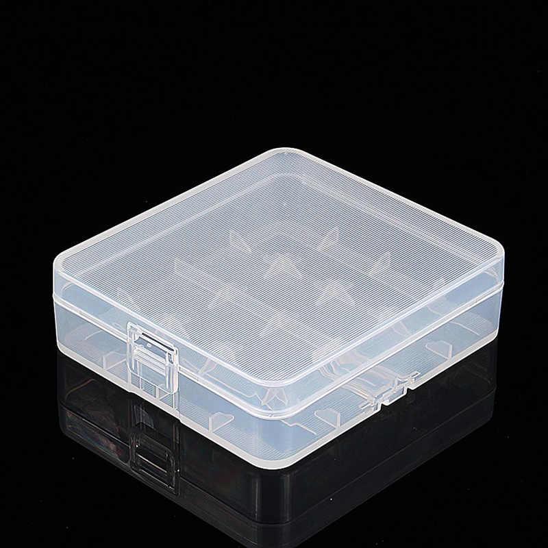 2 pces limpar plástico caso de armazenamento protetor titular para 18650 18350 baterias du55