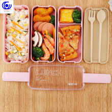 900ml Healthy Material Lunch Box 3 Layer Wheat Straw Bento Microwave Boxes Dinnerware Food Storage Container Lunchbox